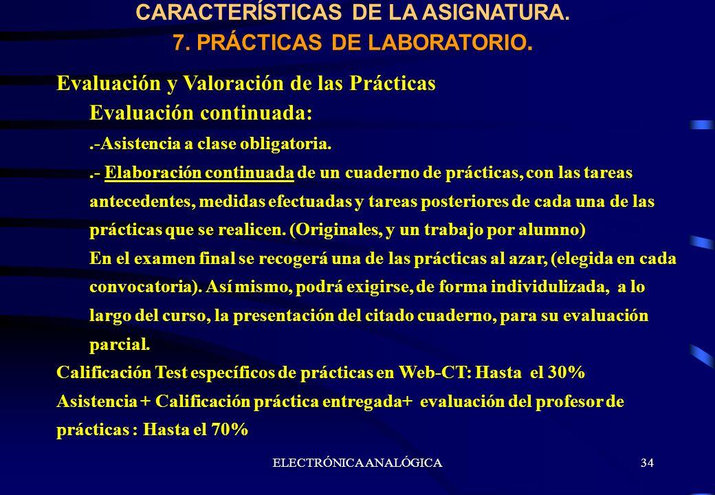ELECTRÓNICA ANALÓGICA34 CARACTERÍSTICAS DE LA ASIGNATURA. 7. PRÁCTICAS DE LABORATORIO. Evaluación y Valoración de las Prácticas Evaluación continuada:
