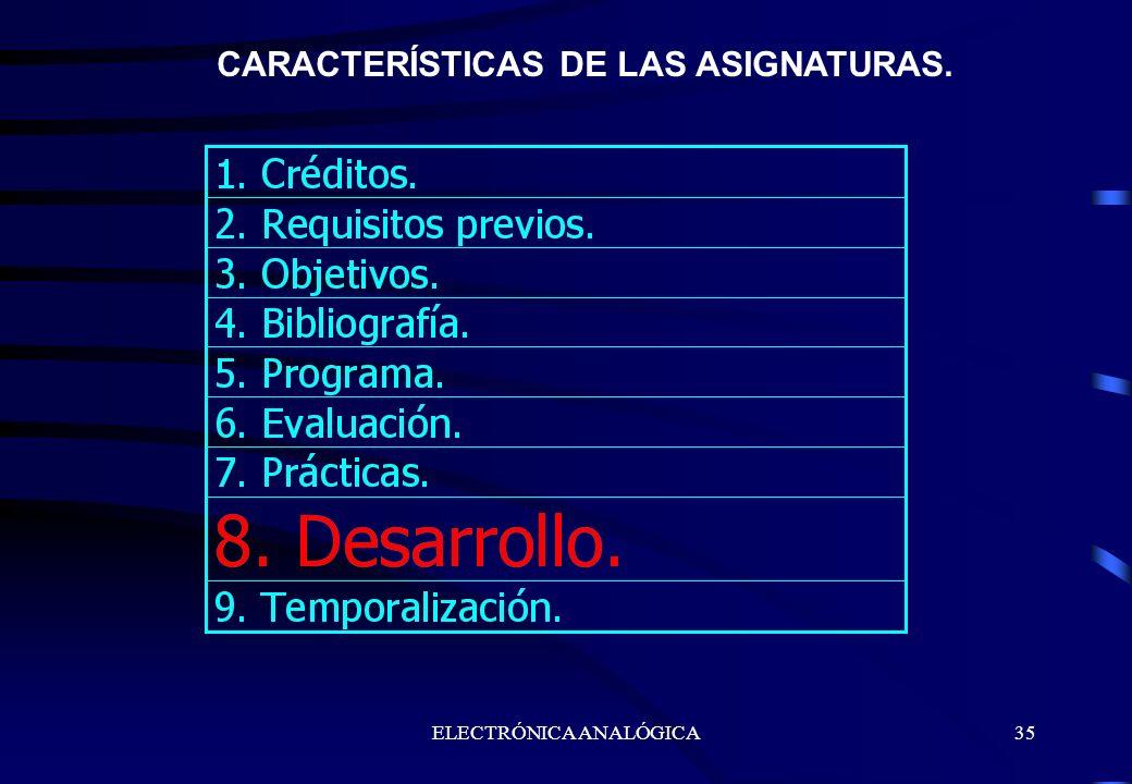 ELECTRÓNICA ANALÓGICA35 CARACTERÍSTICAS DE LAS ASIGNATURAS.