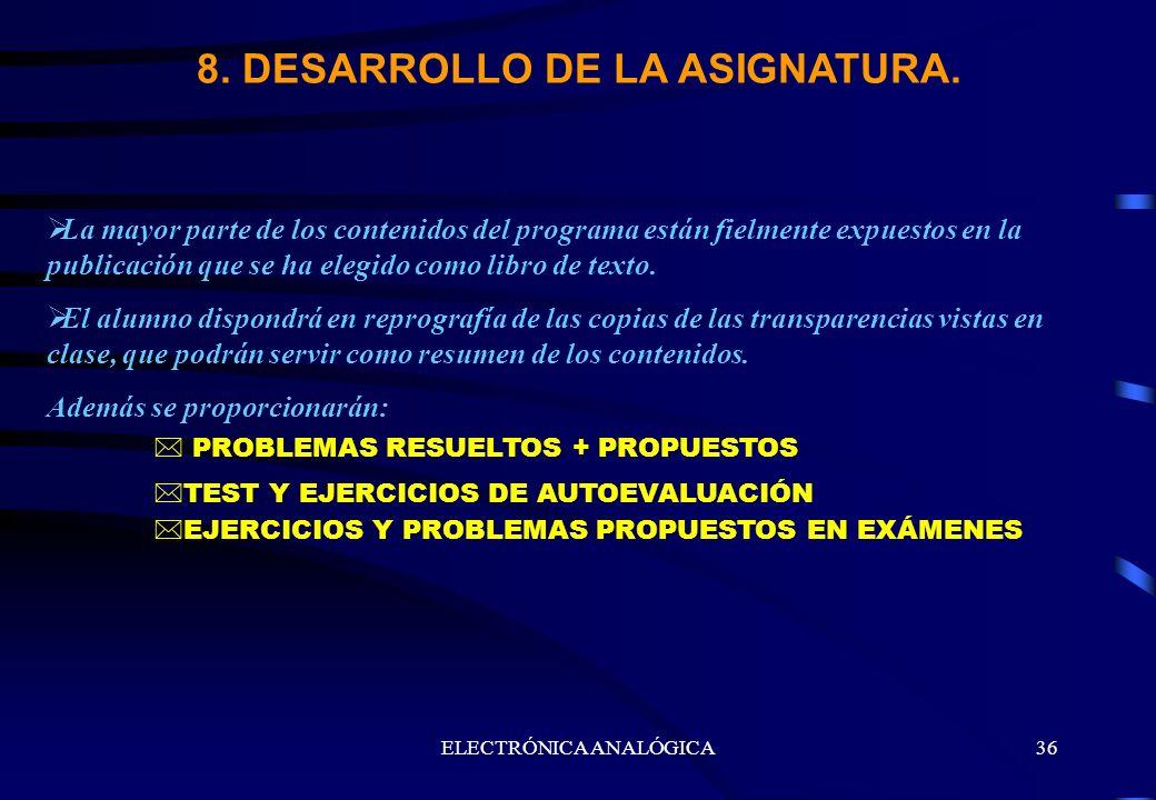 ELECTRÓNICA ANALÓGICA36 8. DESARROLLO DE LA ASIGNATURA. La mayor parte de los contenidos del programa están fielmente expuestos en la publicación que