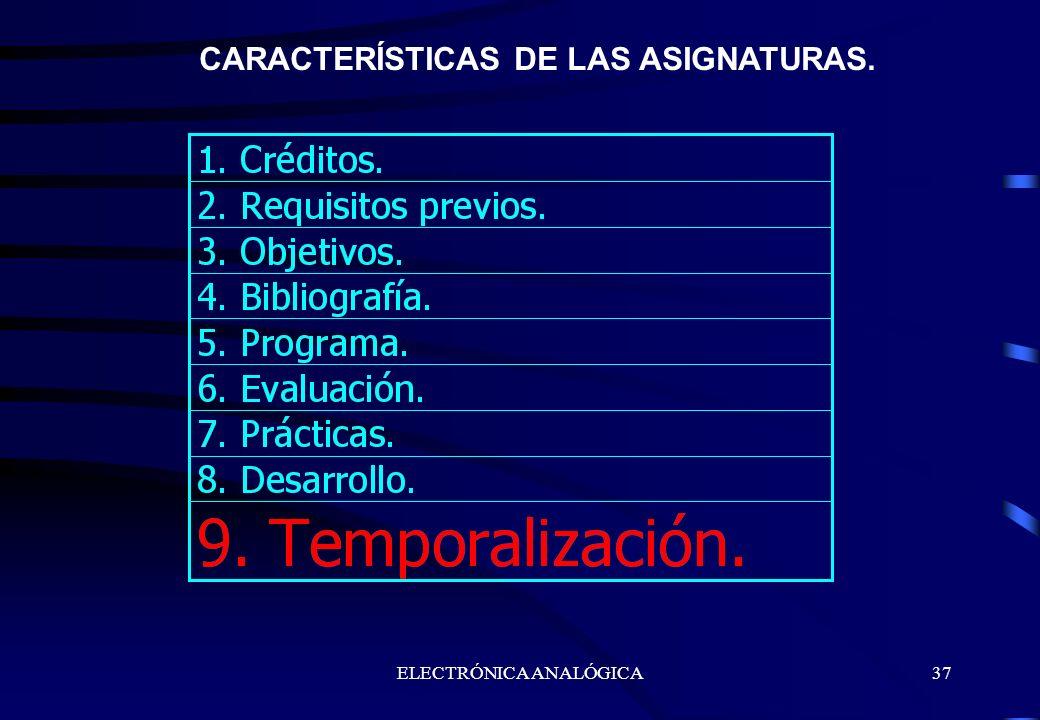 ELECTRÓNICA ANALÓGICA37 CARACTERÍSTICAS DE LAS ASIGNATURAS.