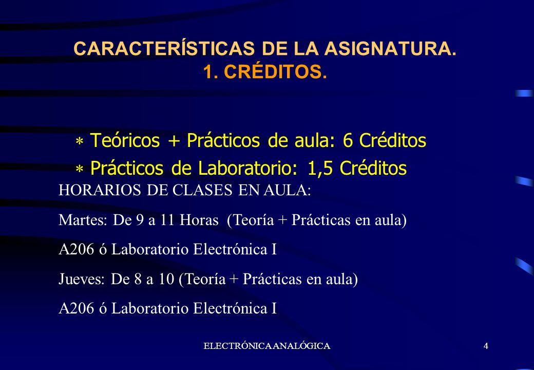 ELECTRÓNICA ANALÓGICA4 Teóricos + Prácticos de aula: 6 Créditos Prácticos de Laboratorio: 1,5 Créditos CARACTERÍSTICAS DE LA ASIGNATURA. 1. CRÉDITOS.