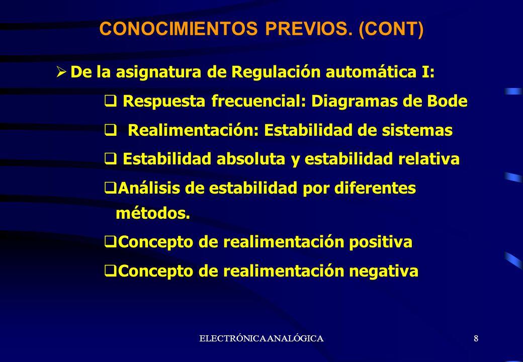 ELECTRÓNICA ANALÓGICA8 De la asignatura de Regulación automática I: Respuesta frecuencial: Diagramas de Bode Realimentación: Estabilidad de sistemas E