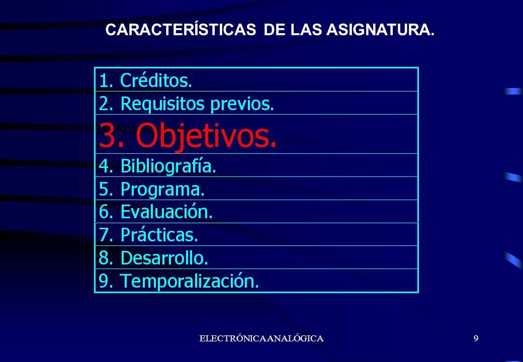 ELECTRÓNICA ANALÓGICA9 CARACTERÍSTICAS DE LAS ASIGNATURA.