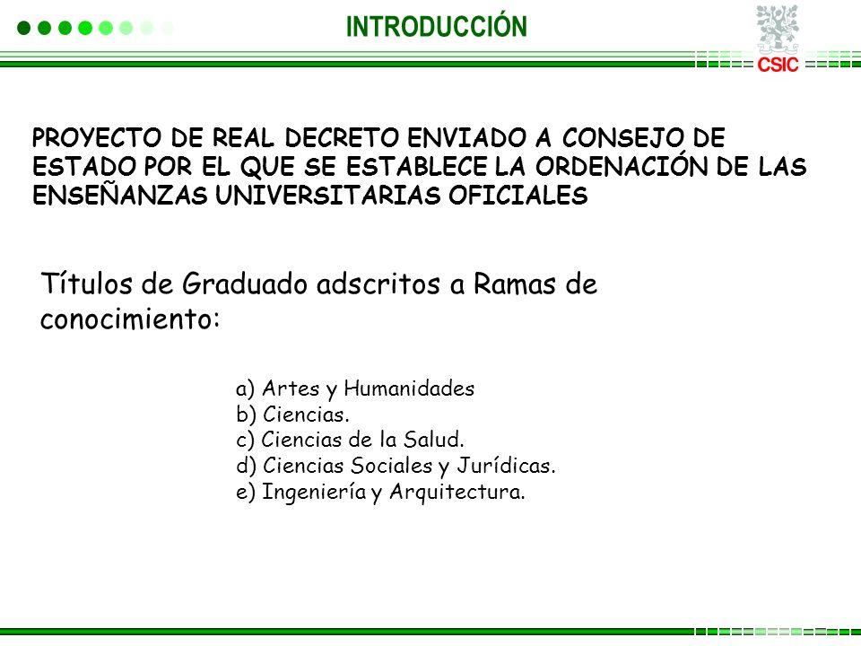INTRODUCCIÓN PROYECTO DE REAL DECRETO ENVIADO A CONSEJO DE ESTADO POR EL QUE SE ESTABLECE LA ORDENACIÓN DE LAS ENSEÑANZAS UNIVERSITARIAS OFICIALES a) Artes y Humanidades b) Ciencias.