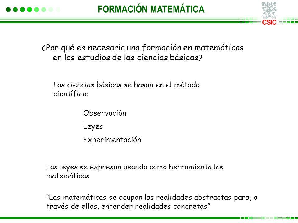 ¿Por qué es necesaria una formación en matemáticas en los estudios de las ciencias básicas? FORMACIÓN MATEMÁTICA Las ciencias básicas se basan en el m