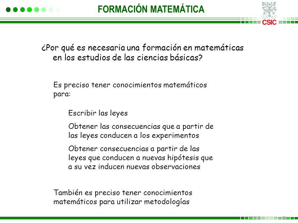 ¿Por qué es necesaria una formación en matemáticas en los estudios de las ciencias básicas? Es preciso tener conocimientos matemáticos para: Escribir