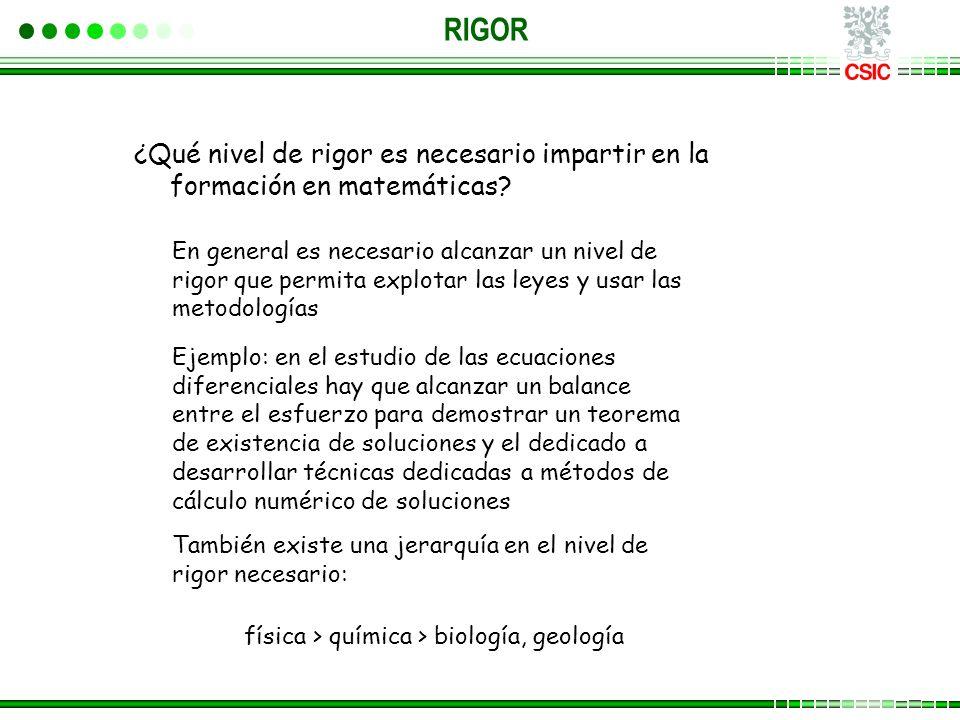 ¿Qué nivel de rigor es necesario impartir en la formación en matemáticas? RIGOR En general es necesario alcanzar un nivel de rigor que permita explota