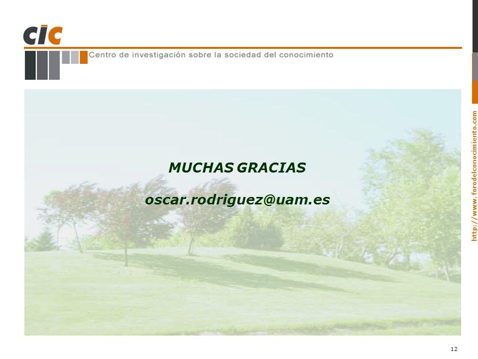 http://www. forodelconocimiento.com 12 MUCHAS GRACIAS oscar.rodriguez@uam.es
