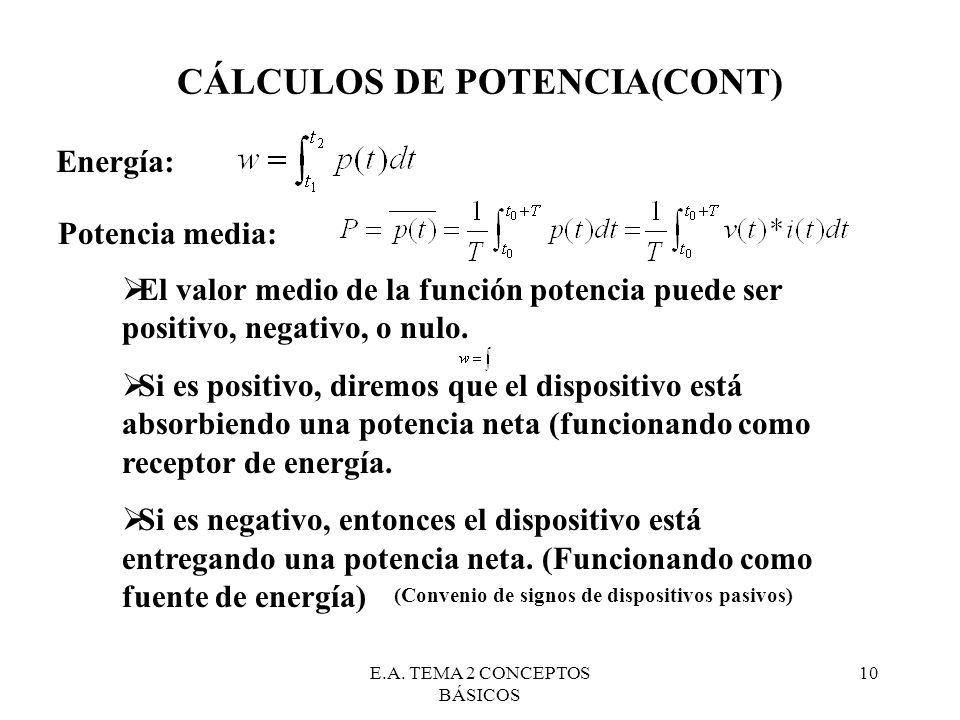 E.A. TEMA 2 CONCEPTOS BÁSICOS 10 CÁLCULOS DE POTENCIA(CONT) Energía: Potencia media: El valor medio de la función potencia puede ser positivo, negativ