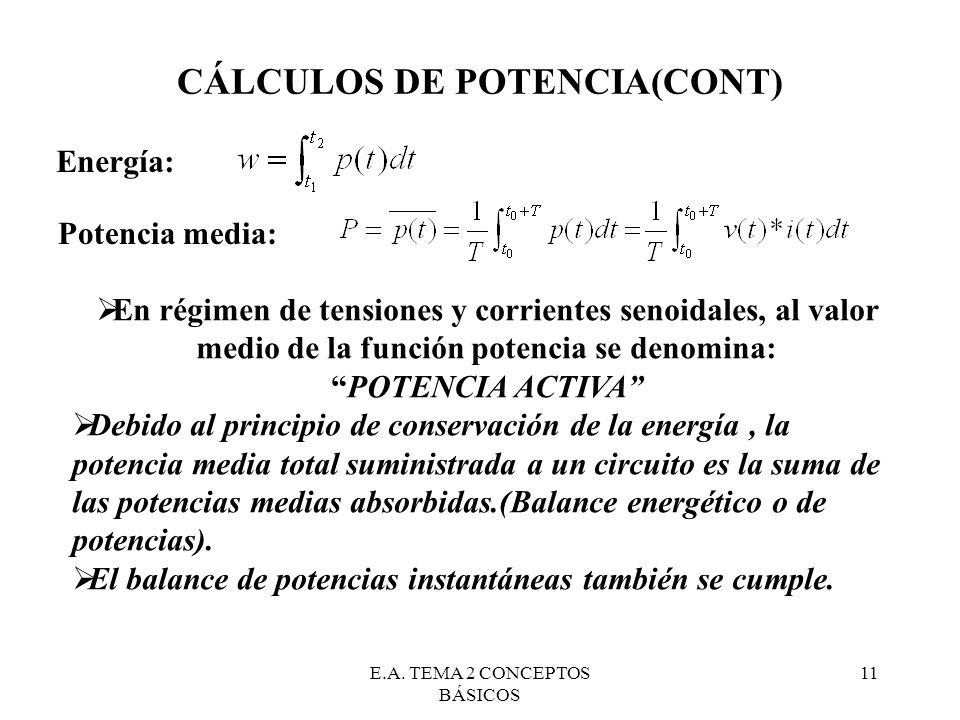 E.A. TEMA 2 CONCEPTOS BÁSICOS 11 CÁLCULOS DE POTENCIA(CONT) Energía: Potencia media: En régimen de tensiones y corrientes senoidales, al valor medio d