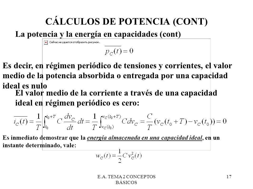 E.A. TEMA 2 CONCEPTOS BÁSICOS 17 CÁLCULOS DE POTENCIA (CONT) La potencia y la energía en capacidades (cont) Es decir, en régimen periódico de tensione
