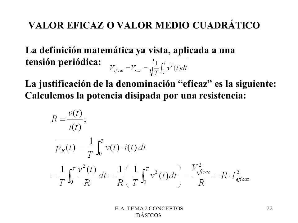 E.A. TEMA 2 CONCEPTOS BÁSICOS 22 VALOR EFICAZ O VALOR MEDIO CUADRÁTICO La definición matemática ya vista, aplicada a una tensión periódica: La justifi
