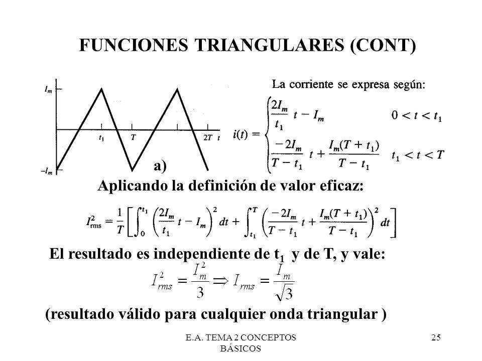 E.A. TEMA 2 CONCEPTOS BÁSICOS 25 FUNCIONES TRIANGULARES (CONT) a) Aplicando la definición de valor eficaz: El resultado es independiente de t 1 y de T