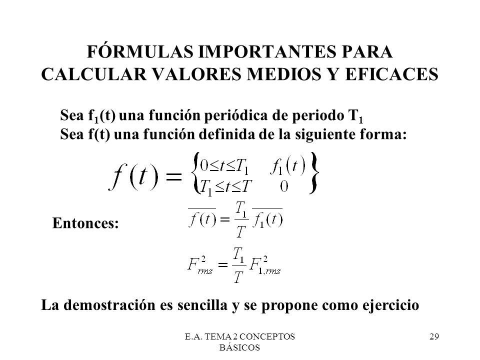 E.A. TEMA 2 CONCEPTOS BÁSICOS 29 FÓRMULAS IMPORTANTES PARA CALCULAR VALORES MEDIOS Y EFICACES Sea f 1 (t) una función periódica de periodo T 1 Sea f(t