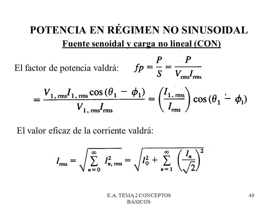 E.A. TEMA 2 CONCEPTOS BÁSICOS 49 POTENCIA EN RÉGIMEN NO SINUSOIDAL Fuente senoidal y carga no lineal (CON) El factor de potencia valdrá: El valor efic