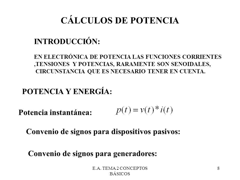 E.A. TEMA 2 CONCEPTOS BÁSICOS 8 CÁLCULOS DE POTENCIA INTRODUCCIÓN: EN ELECTRÓNICA DE POTENCIA LAS FUNCIONES CORRIENTES,TENSIONES Y POTENCIAS, RARAMENT