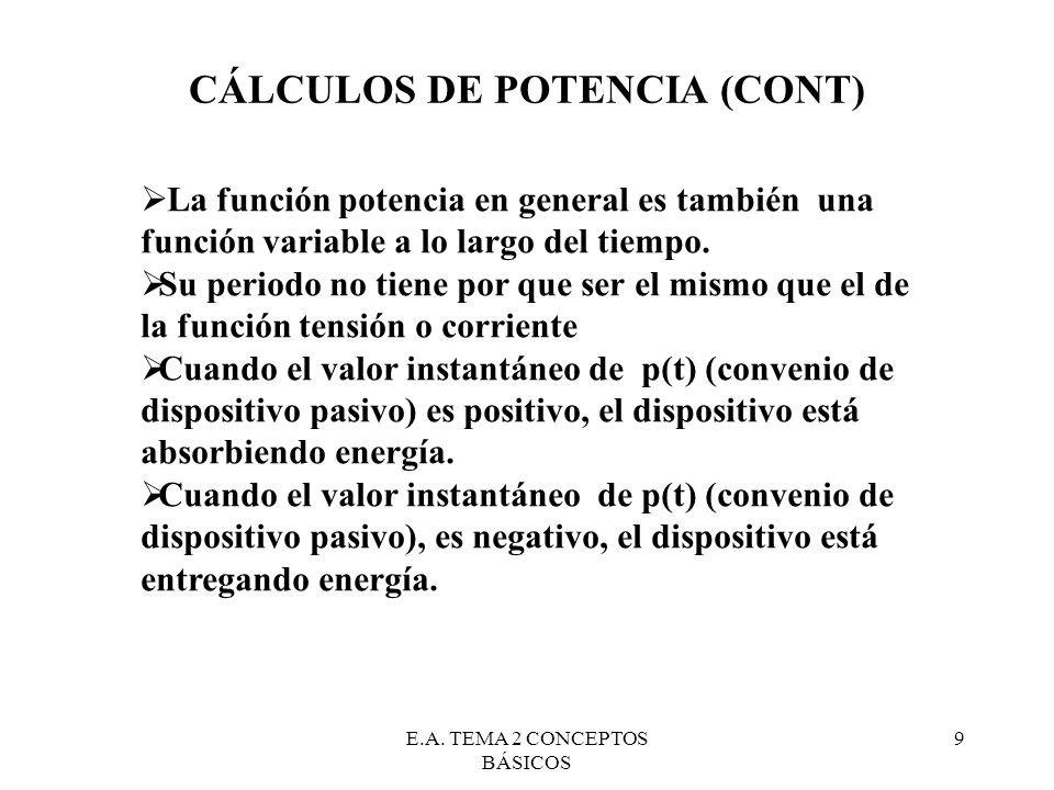 E.A. TEMA 2 CONCEPTOS BÁSICOS 9 CÁLCULOS DE POTENCIA (CONT) La función potencia en general es también una función variable a lo largo del tiempo. Su p
