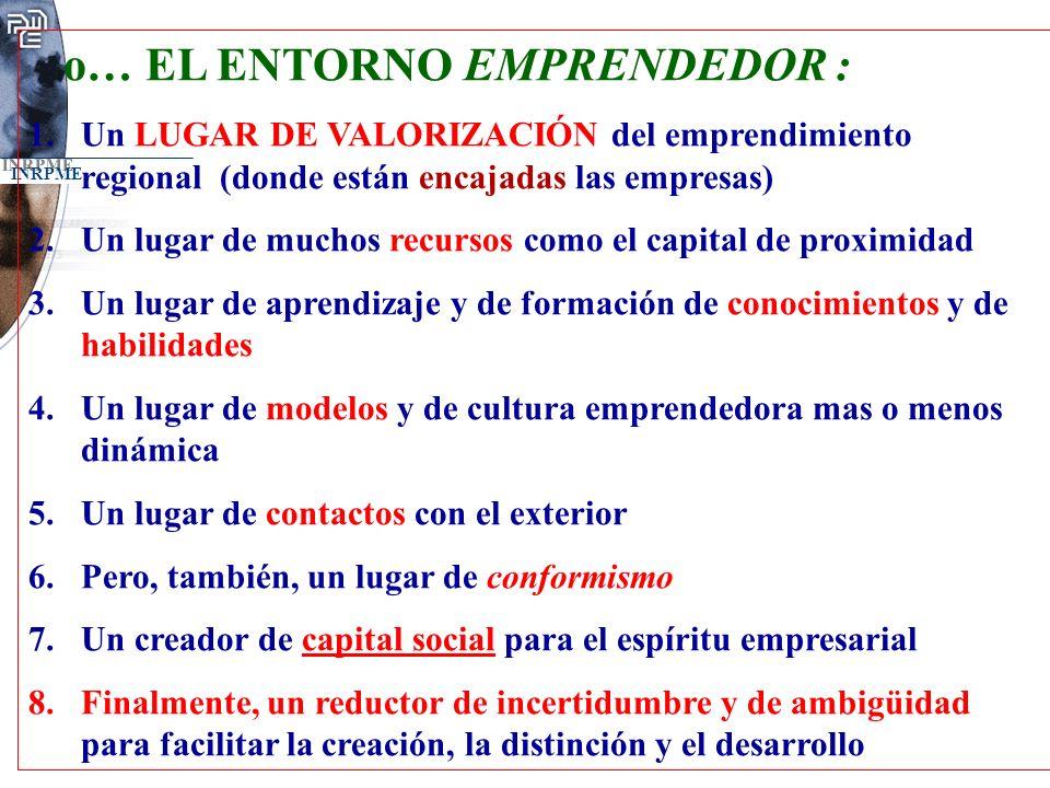 INRPME o… EL ENTORNO EMPRENDEDOR : 1.Un LUGAR DE VALORIZACIÓN del emprendimiento regional (donde están encajadas las empresas) 2.Un lugar de muchos re
