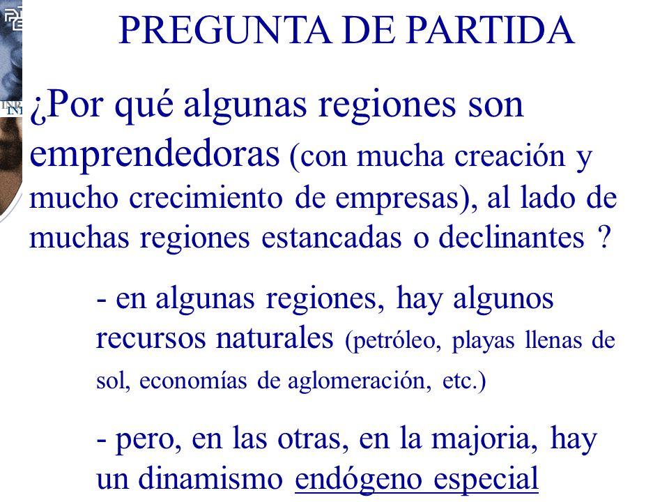 PREGUNTA DE PARTIDA ¿Por qué algunas regiones son emprendedoras (con mucha creación y mucho crecimiento de empresas), al lado de muchas regiones estan