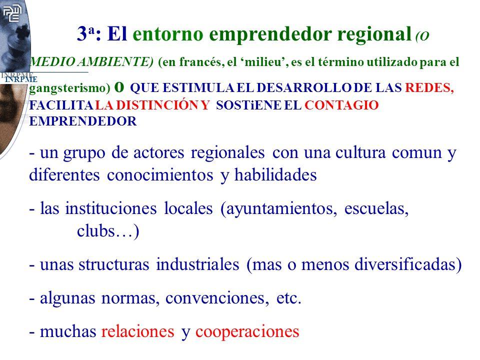 INRPME 3 a : El entorno emprendedor regional (O MEDIO AMBIENTE) (en francés, el milieu, es el término utilizado para el gangsterismo) o QUE ESTIMULA EL DESARROLLO DE LAS REDES, FACILITA LA DISTINCIÓN Y SOSTiENE EL CONTAGIO EMPRENDEDOR - un grupo de actores regionales con una cultura comun y diferentes conocimientos y habilidades - las instituciones locales (ayuntamientos, escuelas, clubs…) - unas structuras industriales (mas o menos diversificadas) - algunas normas, convenciones, etc.