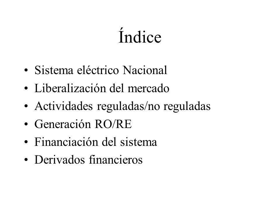 Índice Sistema eléctrico Nacional Liberalización del mercado Actividades reguladas/no reguladas Generación RO/RE Financiación del sistema Derivados fi
