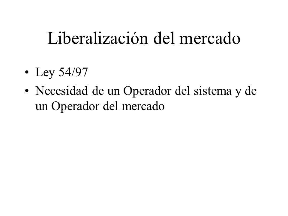 Liberalización del mercado Ley 54/97 Necesidad de un Operador del sistema y de un Operador del mercado