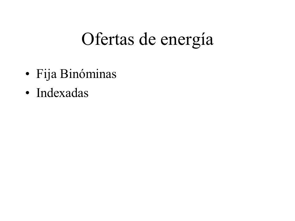 Ofertas de energía Fija Binóminas Indexadas