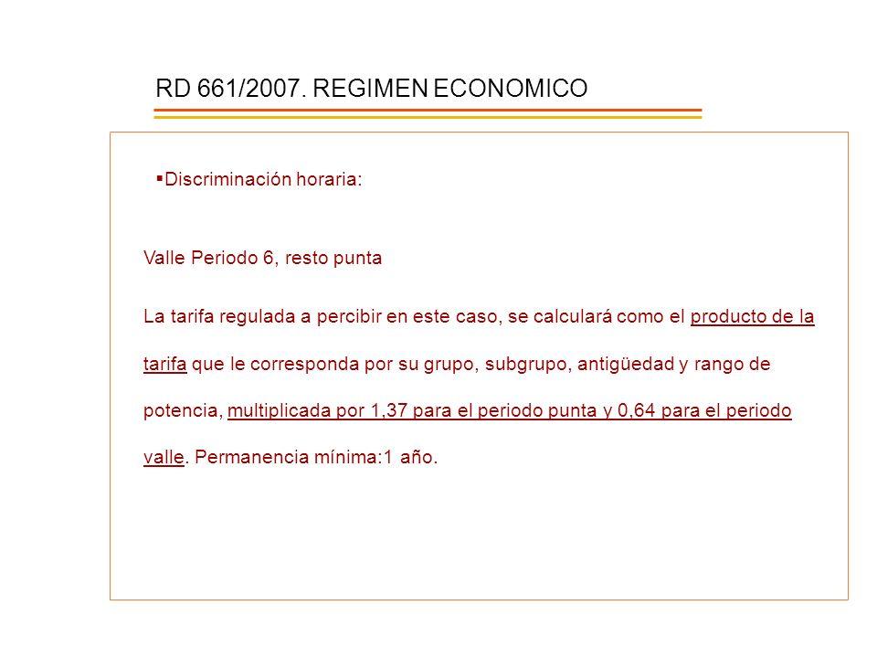 RD 661/2007. REGIMEN ECONOMICO Discriminación horaria: Valle Periodo 6, resto punta La tarifa regulada a percibir en este caso, se calculará como el p