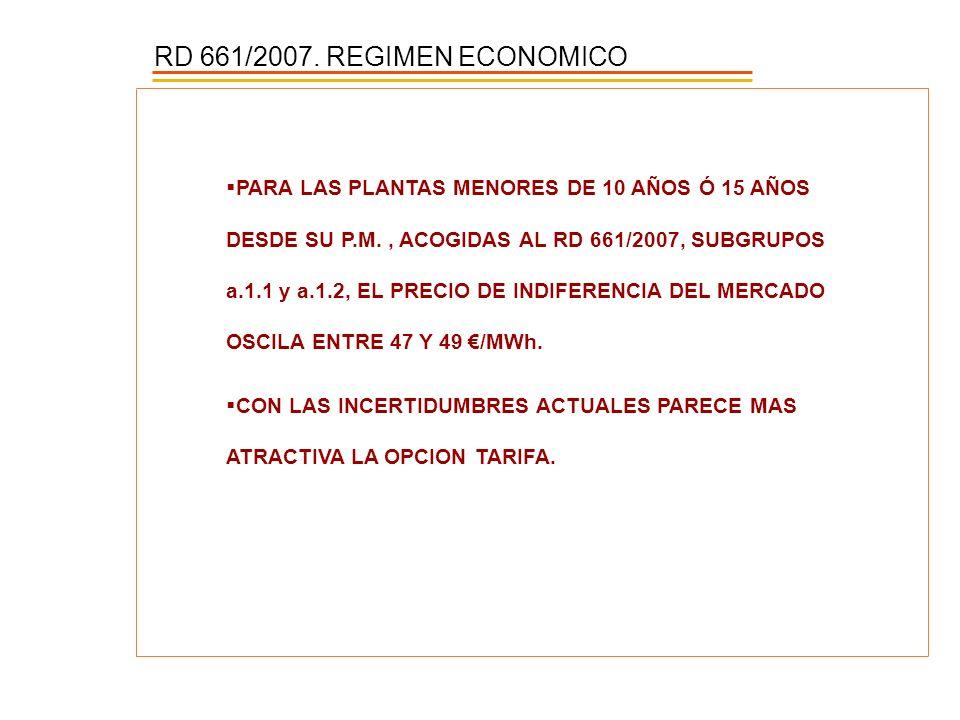 RD 661/2007. REGIMEN ECONOMICO PARA LAS PLANTAS MENORES DE 10 AÑOS Ó 15 AÑOS DESDE SU P.M., ACOGIDAS AL RD 661/2007, SUBGRUPOS a.1.1 y a.1.2, EL PRECI