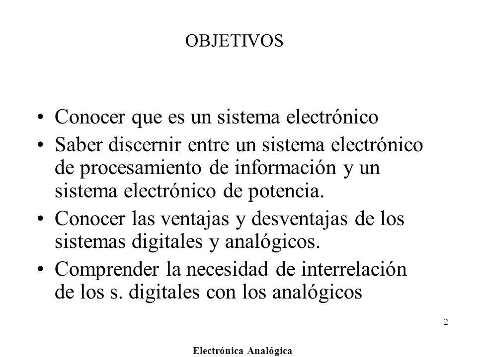 Electrónica Analógica 2 OBJETIVOS Conocer que es un sistema electrónico Saber discernir entre un sistema electrónico de procesamiento de información y