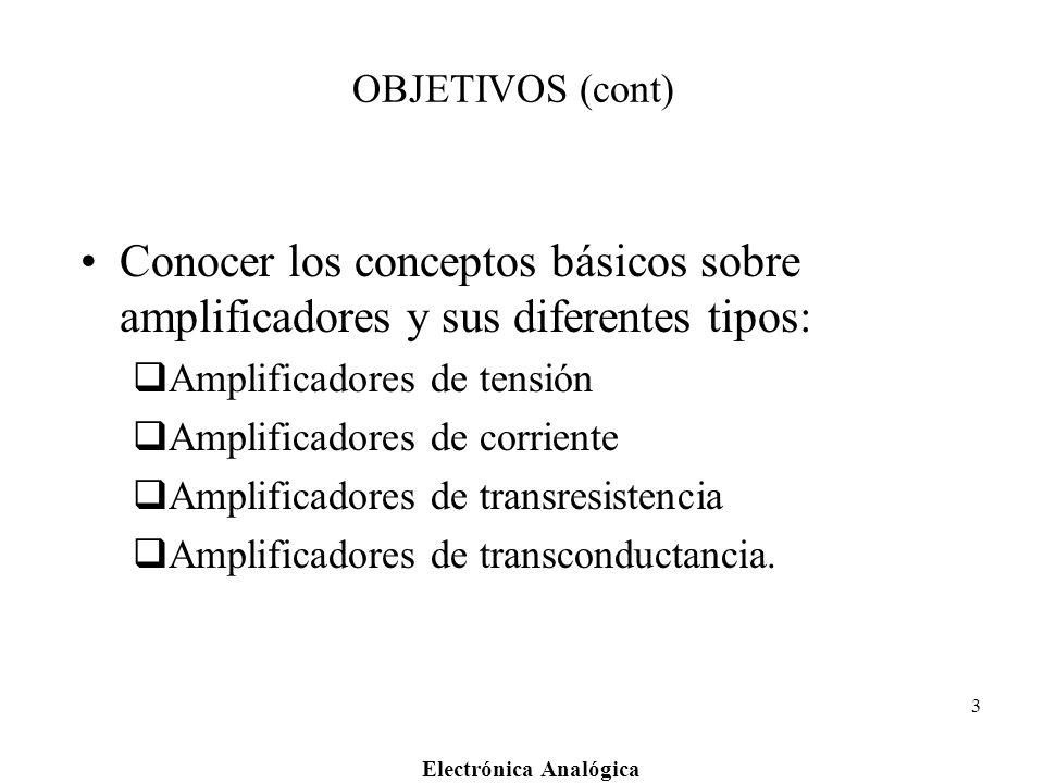 Electrónica Analógica 3 OBJETIVOS (cont) Conocer los conceptos básicos sobre amplificadores y sus diferentes tipos: Amplificadores de tensión Amplific