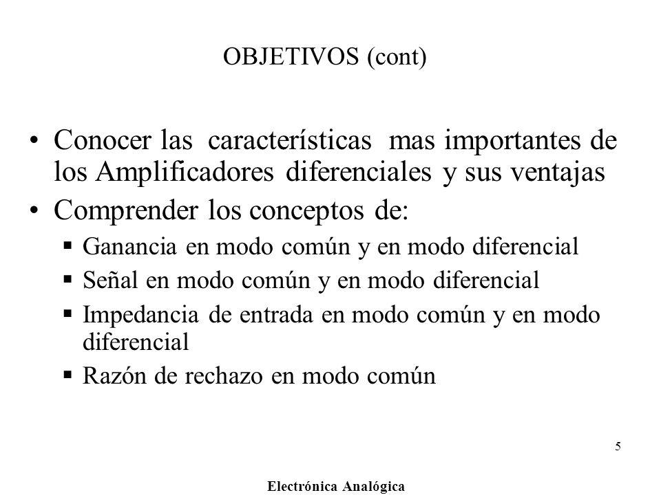 Electrónica Analógica 5 OBJETIVOS (cont) Conocer las características mas importantes de los Amplificadores diferenciales y sus ventajas Comprender los