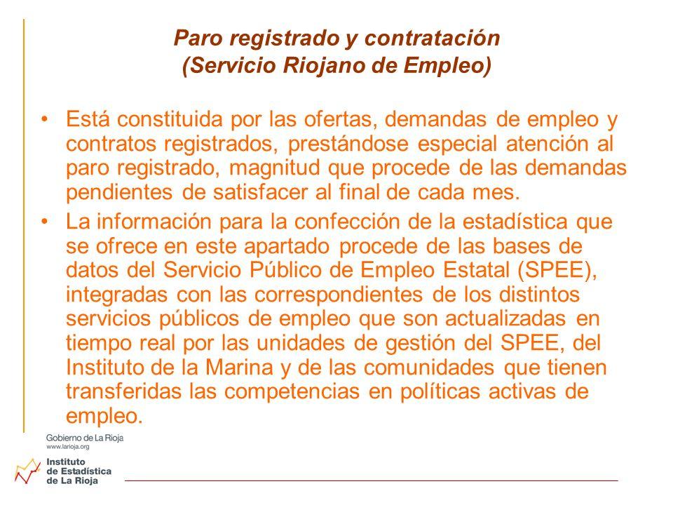 Paro registrado y contratación (Servicio Riojano de Empleo) Está constituida por las ofertas, demandas de empleo y contratos registrados, prestándose