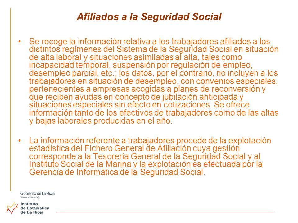 Afiliados a la Seguridad Social Se recoge la información relativa a los trabajadores afiliados a los distintos regímenes del Sistema de la Seguridad S