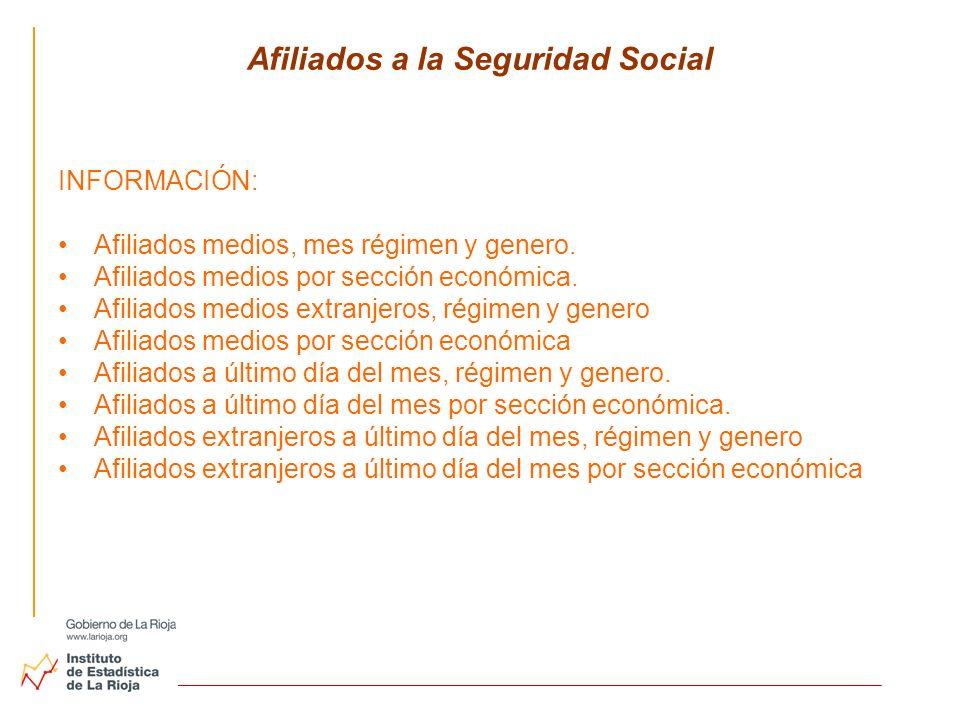 Afiliados a la Seguridad Social INFORMACIÓN: Afiliados medios, mes régimen y genero. Afiliados medios por sección económica. Afiliados medios extranje