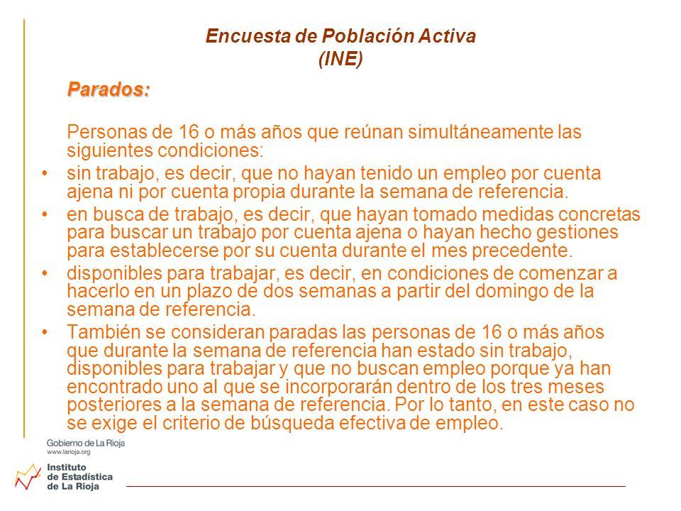 Encuesta de Población Activa (INE) Parados: Personas de 16 o más años que reúnan simultáneamente las siguientes condiciones: sin trabajo, es decir, qu