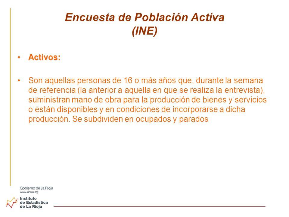 Encuesta de Población Activa (INE) Activos:Activos: Son aquellas personas de 16 o más años que, durante la semana de referencia (la anterior a aquella