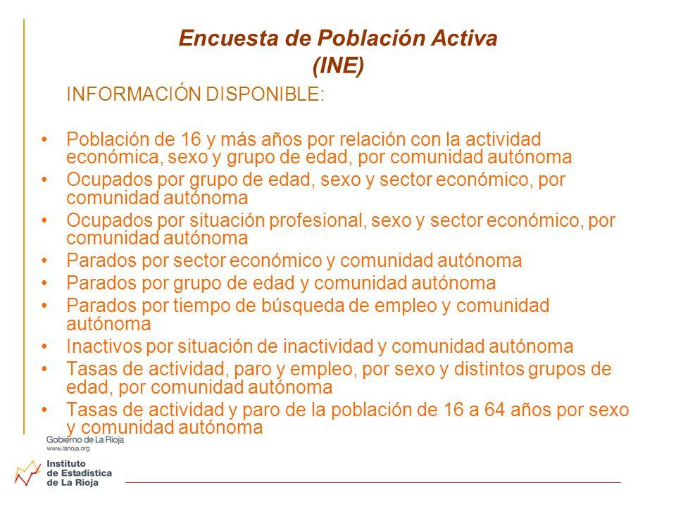 Encuesta de Población Activa (INE) INFORMACIÓN DISPONIBLE: Población de 16 y más años por relación con la actividad económica, sexo y grupo de edad, p