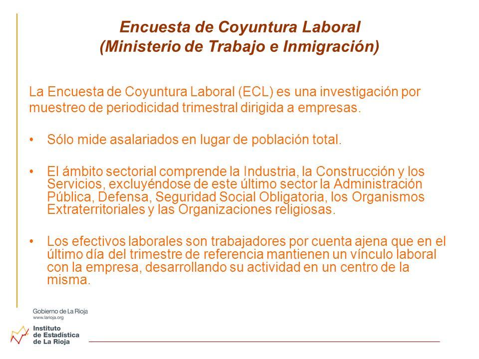 Encuesta de Coyuntura Laboral (Ministerio de Trabajo e Inmigración) La Encuesta de Coyuntura Laboral (ECL) es una investigación por muestreo de period
