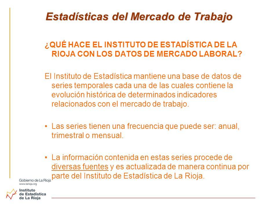 Estadísticas del Mercado de Trabajo Estadísticas del Mercado de Trabajo ¿QUÉ HACE EL INSTITUTO DE ESTADÍSTICA DE LA RIOJA CON LOS DATOS DE MERCADO LAB