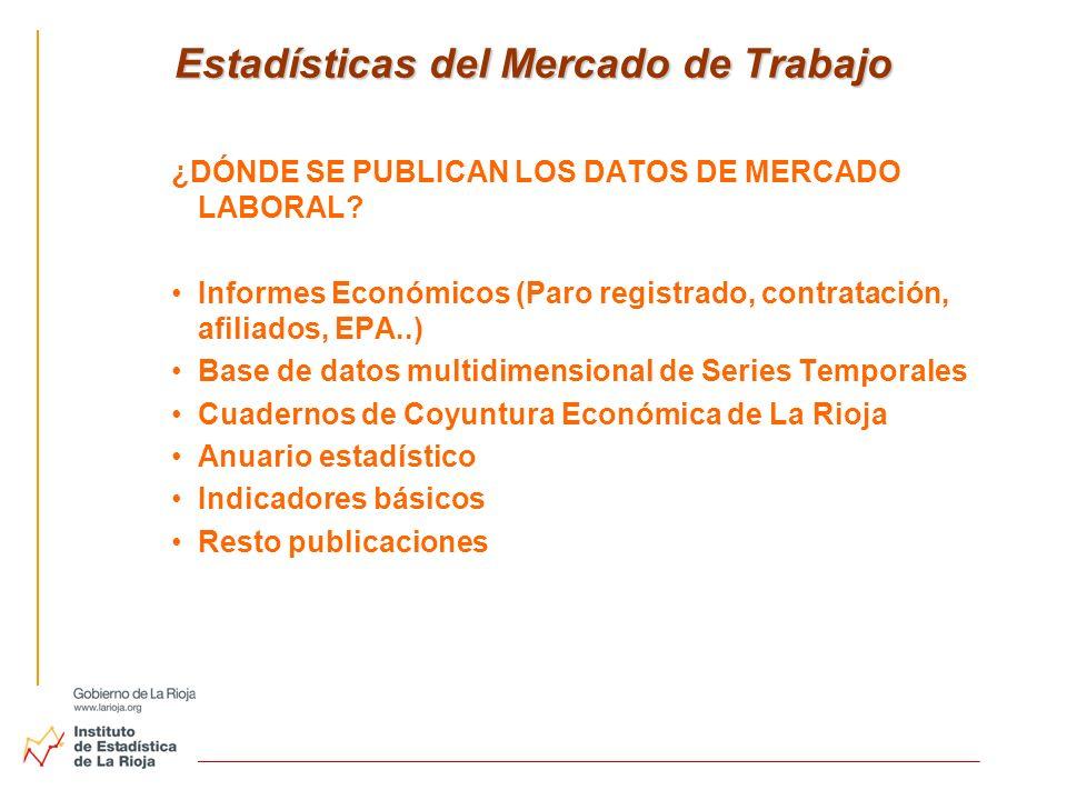 Estadísticas del Mercado de Trabajo ¿DÓNDE SE PUBLICAN LOS DATOS DE MERCADO LABORAL? Informes Económicos (Paro registrado, contratación, afiliados, EP