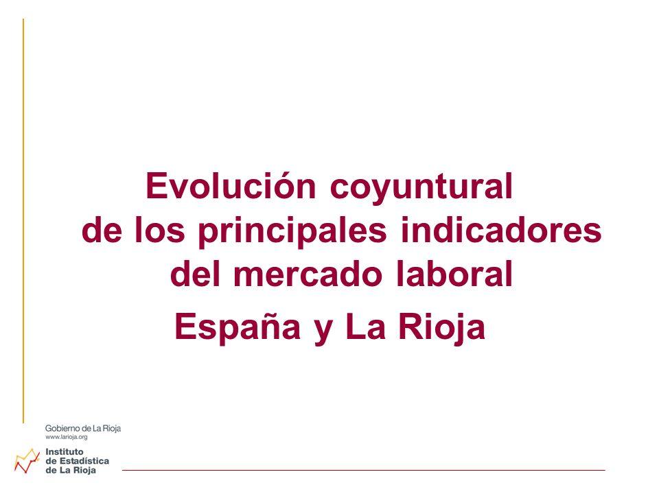 Evolución coyuntural de los principales indicadores del mercado laboral España y La Rioja