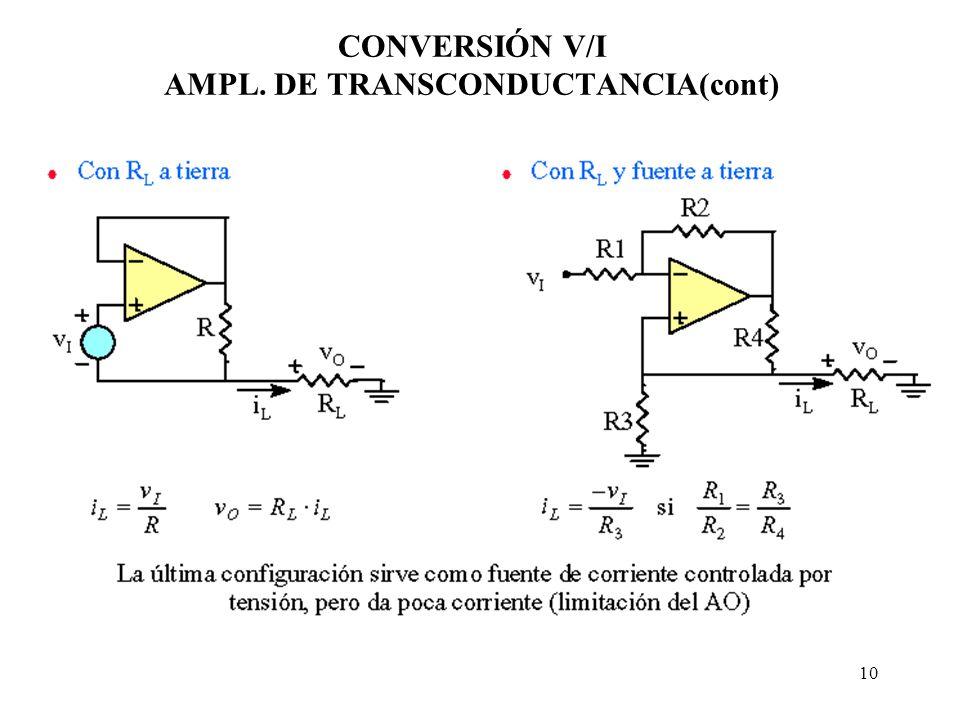10 CONVERSIÓN V/I AMPL. DE TRANSCONDUCTANCIA(cont)