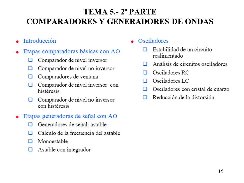 16 TEMA 5.- 2ª PARTE COMPARADORES Y GENERADORES DE ONDAS