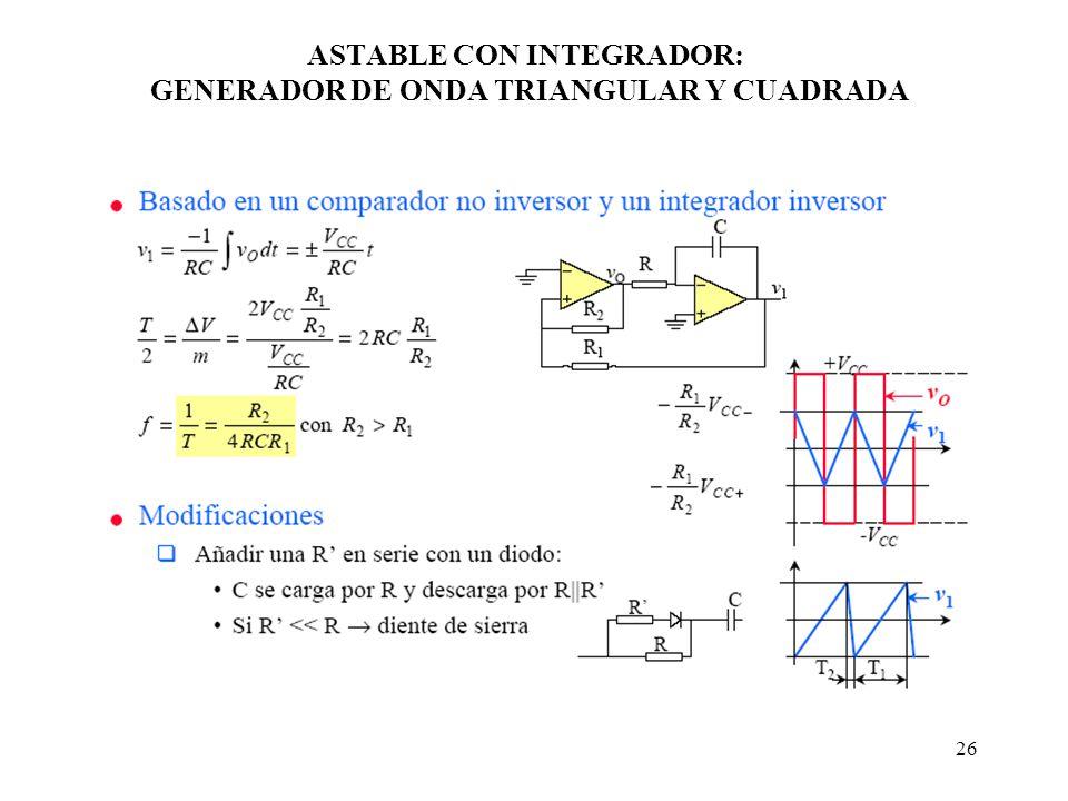 26 ASTABLE CON INTEGRADOR: GENERADOR DE ONDA TRIANGULAR Y CUADRADA