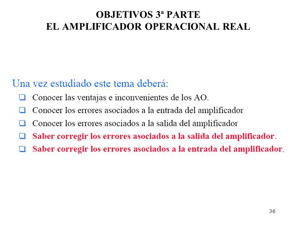 36 OBJETIVOS 3ª PARTE EL AMPLIFICADOR OPERACIONAL REAL