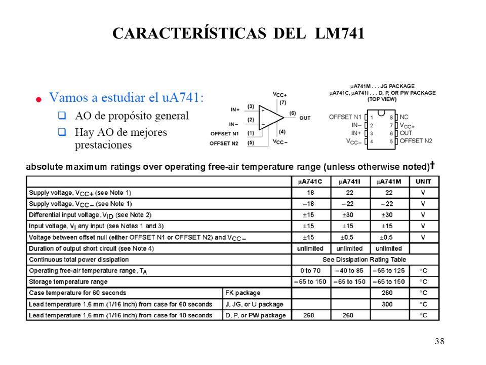 38 CARACTERÍSTICAS DEL LM741