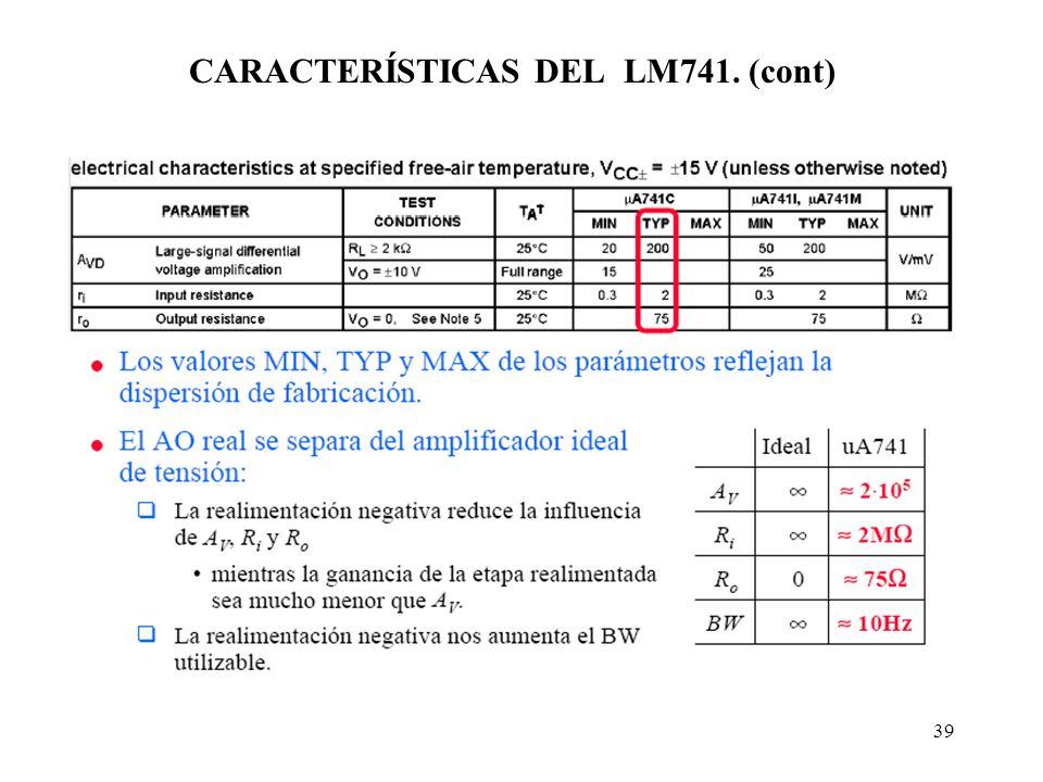 39 CARACTERÍSTICAS DEL LM741. (cont)