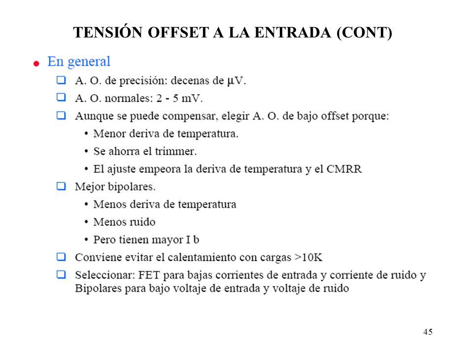 45 TENSIÓN OFFSET A LA ENTRADA (CONT)