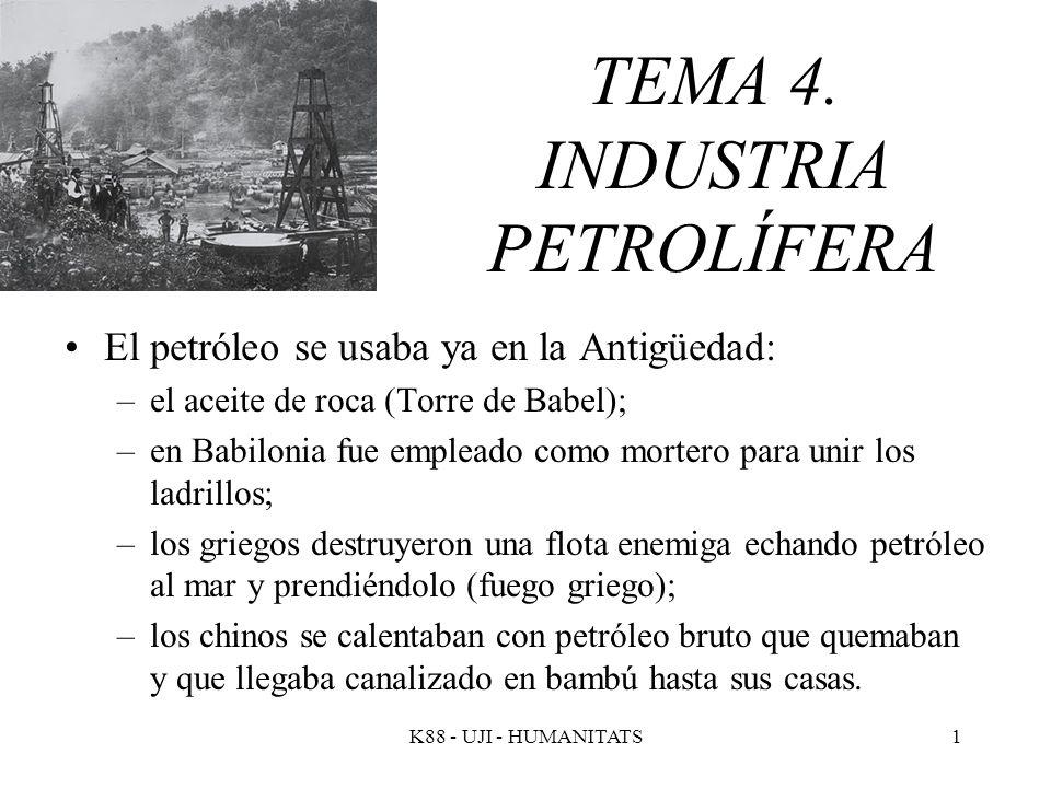 K88 - UJI - HUMANITATS1 TEMA 4. INDUSTRIA PETROLÍFERA El petróleo se usaba ya en la Antigüedad: –el aceite de roca (Torre de Babel); –en Babilonia fue